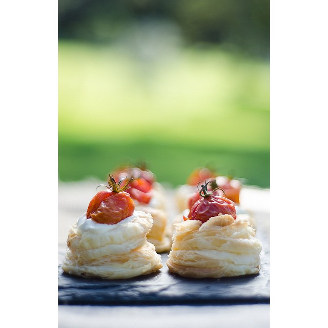Mini Creme Fraiche Tartlets With Roasted Tomatoes