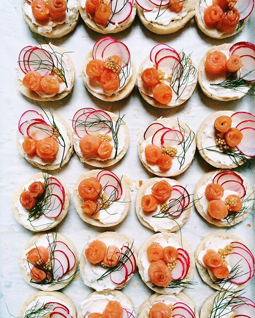 Cured Salmon Canapés With Pickled Mustard And Fennel TheFeedfeed - Canapes