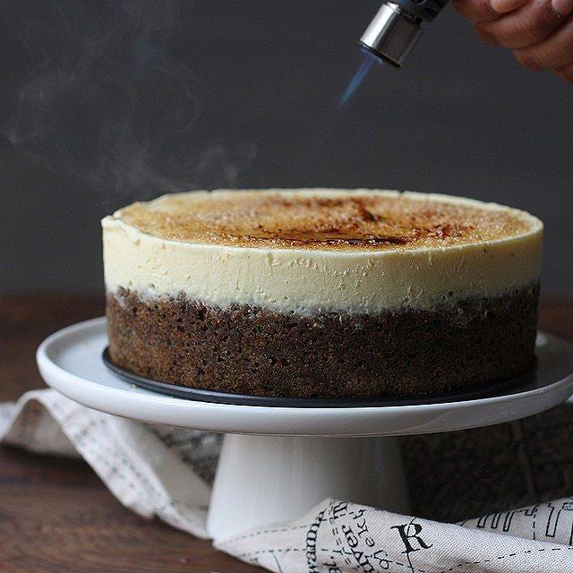 Toasted Black Sesame Creme Brulee Cake