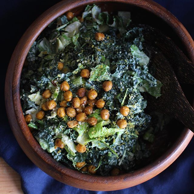 Kale And Brussels Sprout Caesar With Crispy Chickpea Croutons