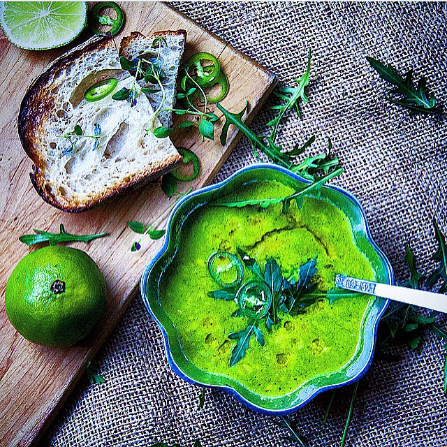 Peppery Rocket, Mung Beans, Green Chili Coconut Paste Soup