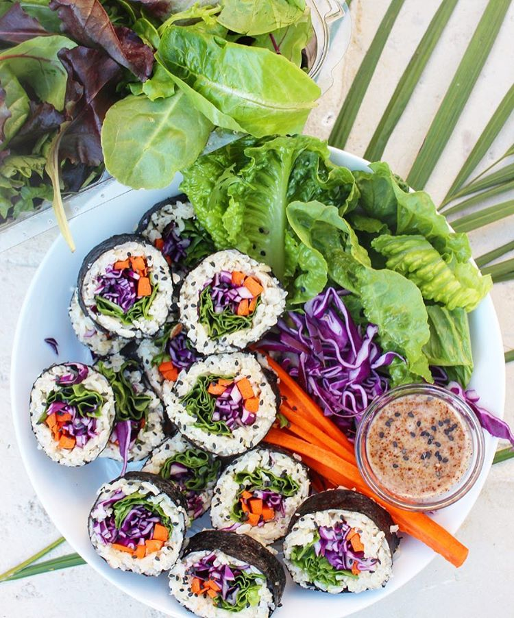 Veggie Sushi With Almond Dipping Sauce Recipe The Feedfeed