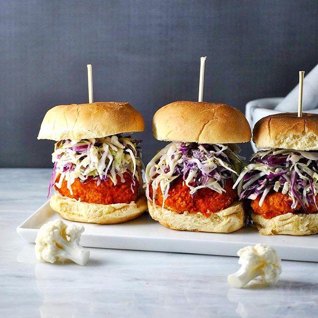 Vegan Buffalo Cauliflower Burgers