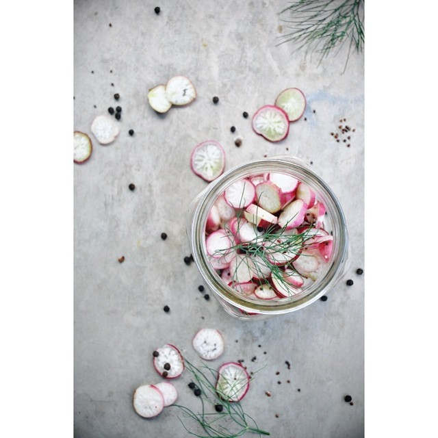 Pickled Radishes With Red Pepper Flakes & Black Peppercorns