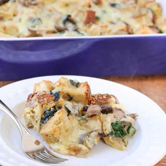 Savory Mushroom, Spinach And Havarti Strata