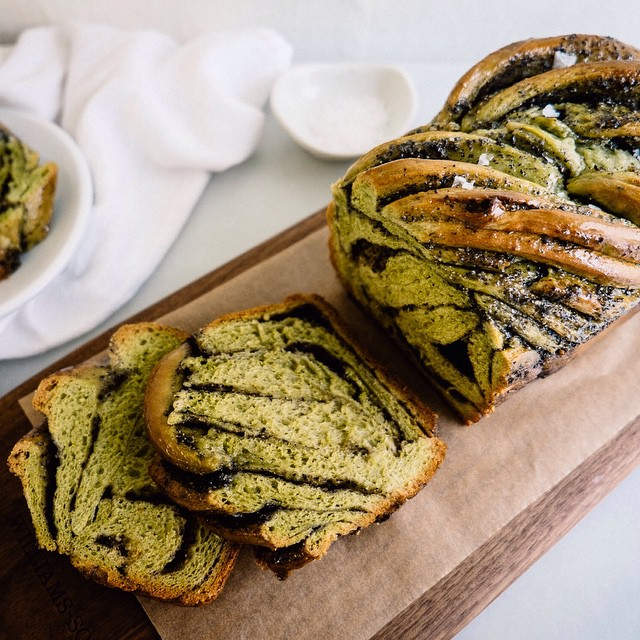 Matcha Babka With Black Sesame Filling