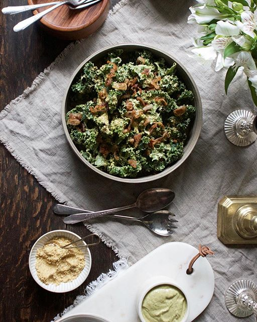 Kale Caesar Salad With Cashew Cream