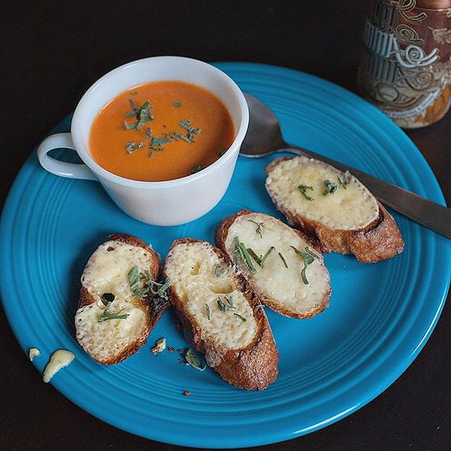 Easy Tomato Soup With Open Faced Grilled Cheese Toast