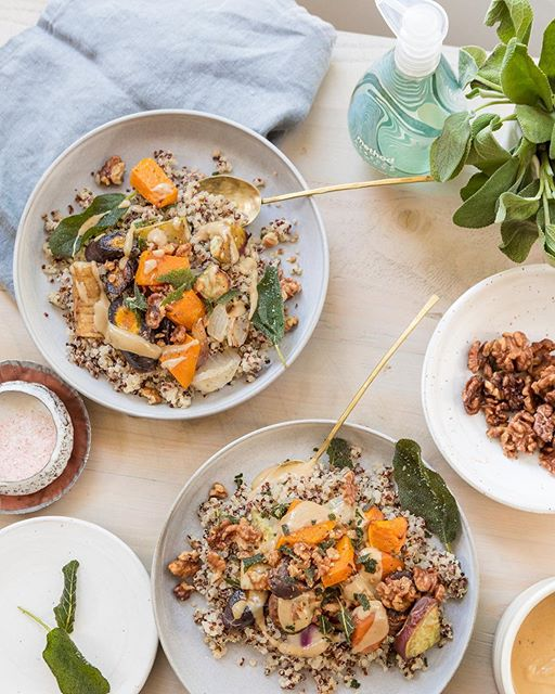 Quinoa Bowl With Roasted Fall Vegetables, Crispy Sage And Walnuts