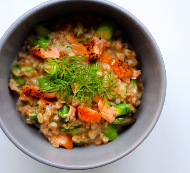 Barley Risotto With Hot Smoked Salmon, Asparagus And Dill