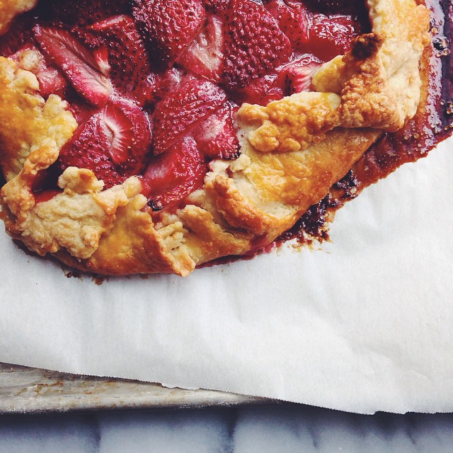 Homemade Galette Filled With Strawberries & Melted Butter