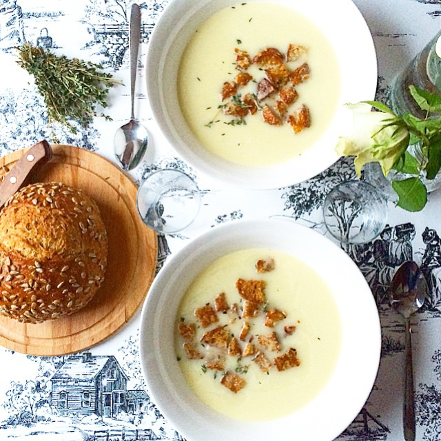 Celeriac Soup With Homemade Garlic And Herb Croutons