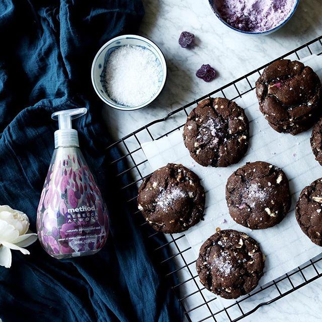 Salted Dark Chocolate Violet Cookies