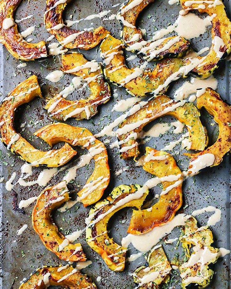 Sweet And Spicy Roasted  Squash Drizzled With Cashew Butter