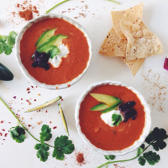 Chipotle Tomato Soup Cilantro Lime Crema & Cumin-fried ...