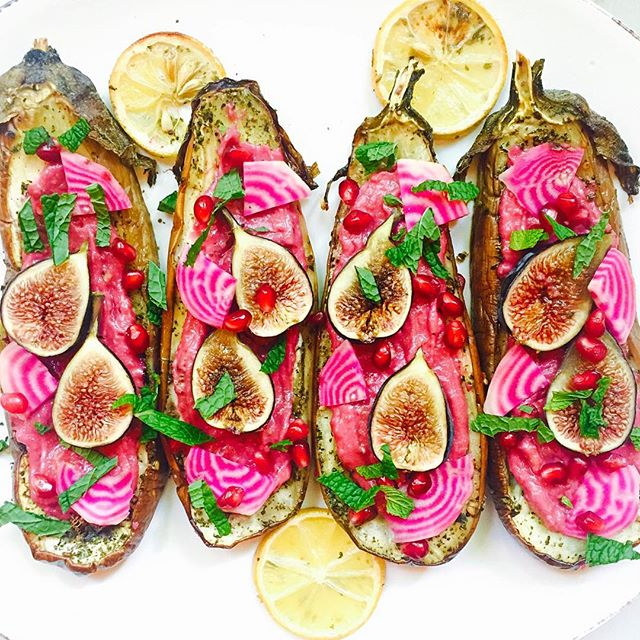 Roasted Eggplant With Beet Hummus, Figs And Pomegranate