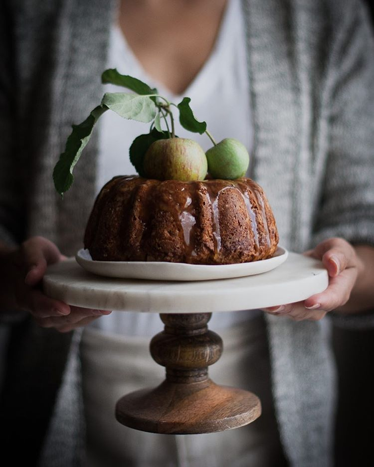 Whole Wheat Apple Cake With Honey Caramel And Cardamom