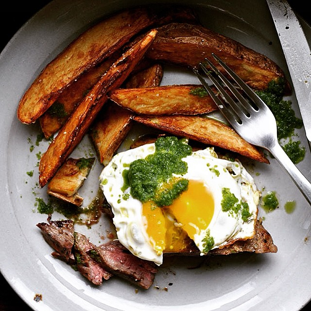 Churrasco: Ecuadorian Steak & Eggs With Green Chili Sauce Made From Jalapenos, Lime & Cilantro