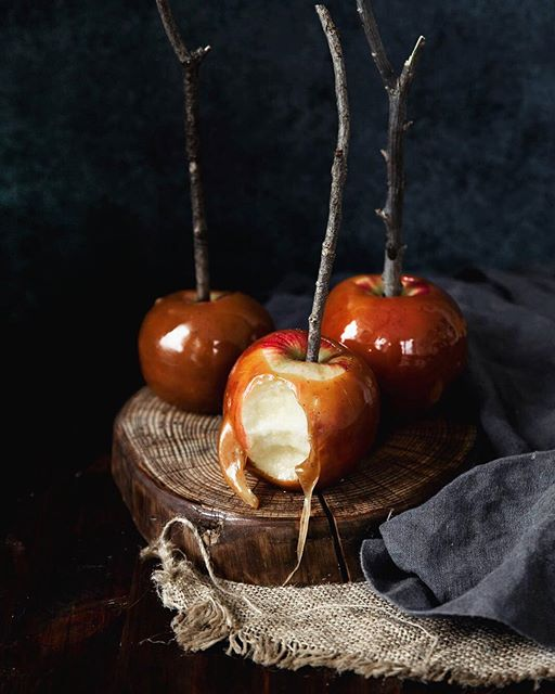 homemade caramel apples spiked with bourbon and flavored with @challengedairyinc brown butter… uhm…