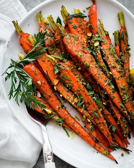 Roasted Carrots With Pistachio And Carrot Top Pesto