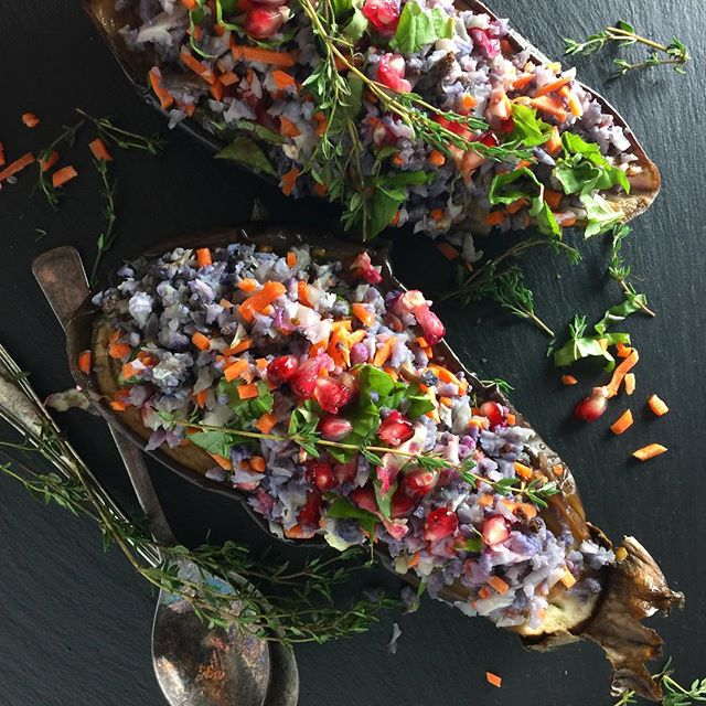 Lemon Basil Riced Cauliflower Stuffed Eggplant
