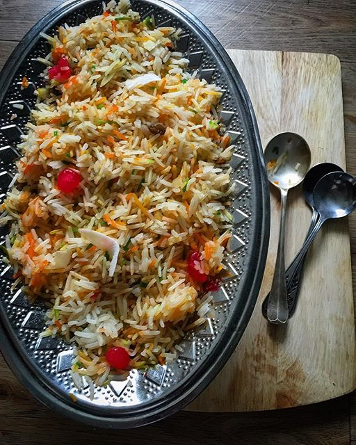 Sweet rice aka 'Zarda' for Sunday breakfast ... Made a big batch of this yesterday for an after…