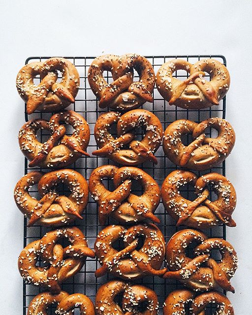 Cider-boiled sourdough pretzels all tied up in their Sunday best.
