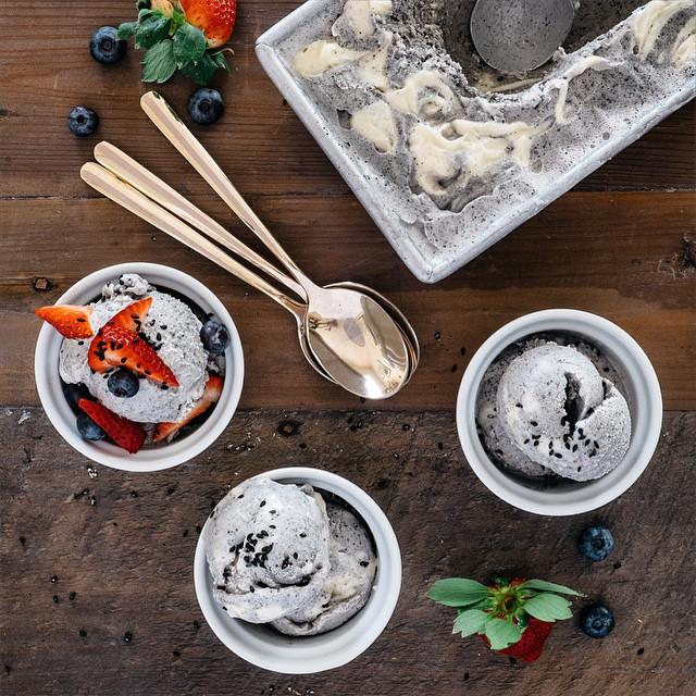 Salted Black Sesame Ice Cream With White Chocolate Ganache Swirl