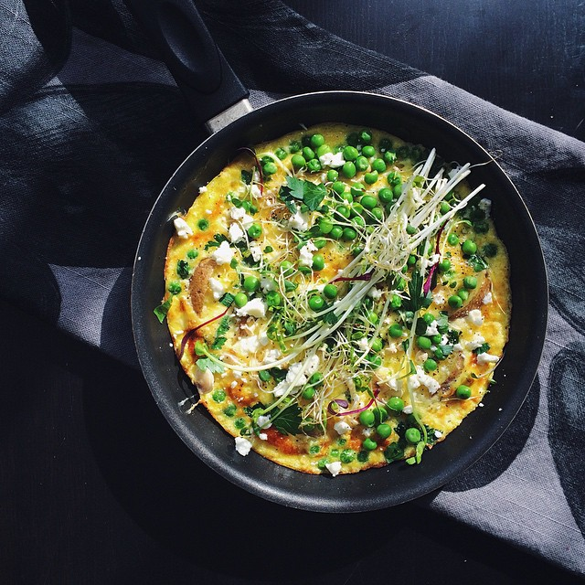 Frittata With Peas, Potatoes, Goat Cheese & Enoki Mushrooms