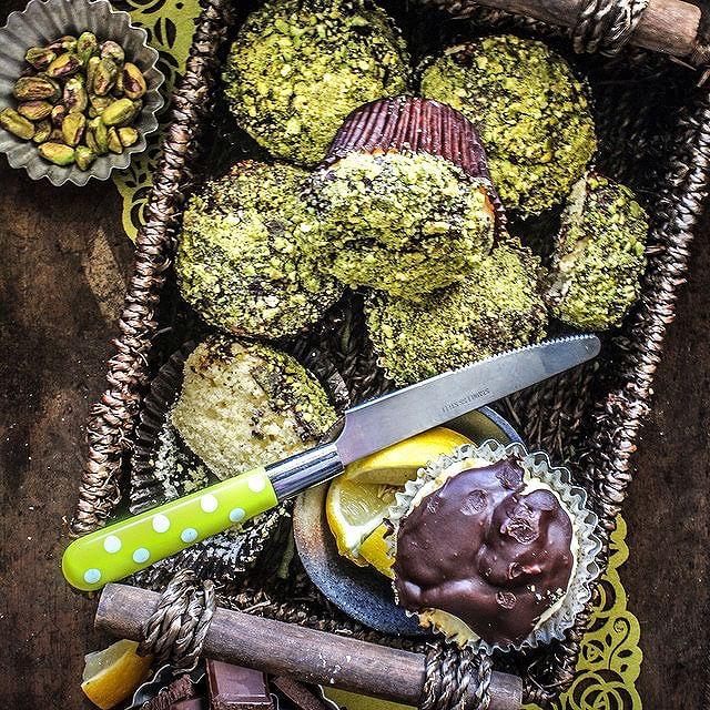 Chocolate & Pistachio Glazed Lemon Muffins