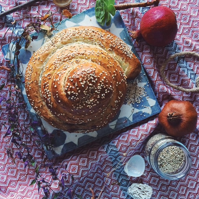 Rolled Pomegranate Molasses And Sesame Seed Challah