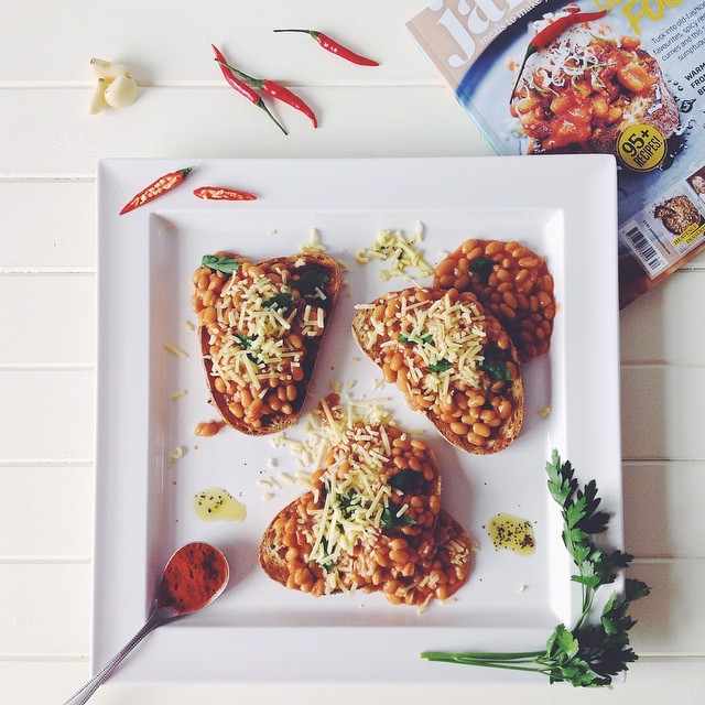 Baked Beans On Toast With Chedder Cheese & Parsley