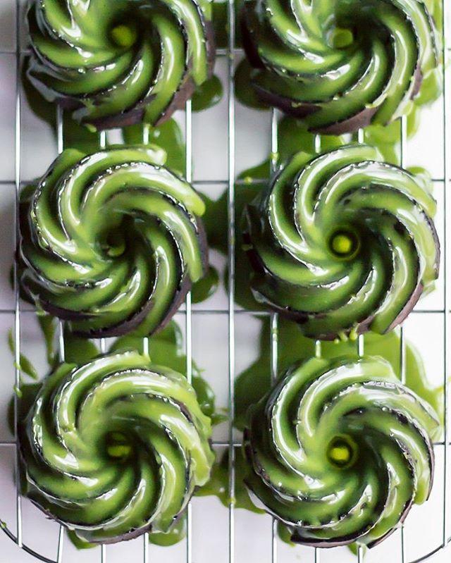 matcha glazed black sesame bundt cakes . I've been dreaming of making these mini bundt cakes for…