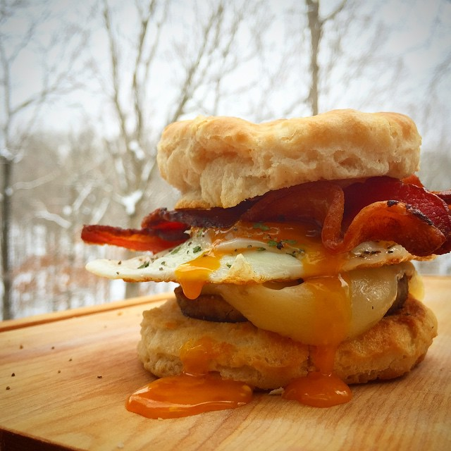 Biscuit-egg-sausage Bacon-cheese Breakfast Sandwich