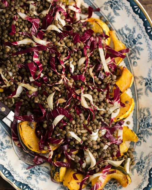 Roasted Acorn Squash, Lentil And Radicchio Salad