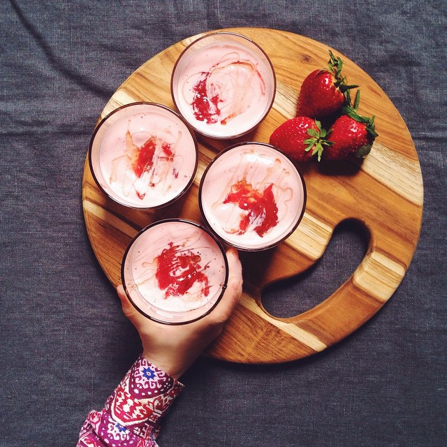 Strawberry, Rhubarb And Blood Orange Smoothies