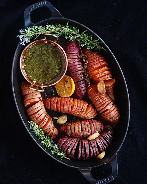 Hasselback Sweet Potatoes With Tuscan Salsa Verde