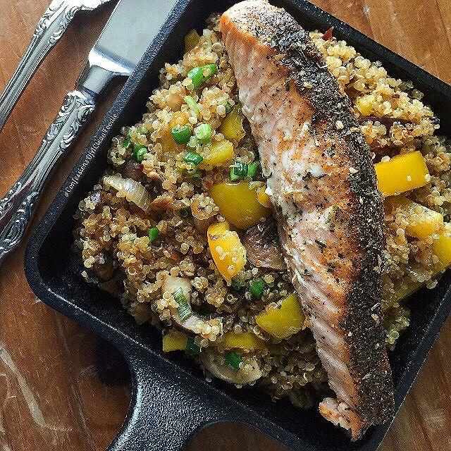 Lemon Garlic Salmon Over Quinoa Pilaf