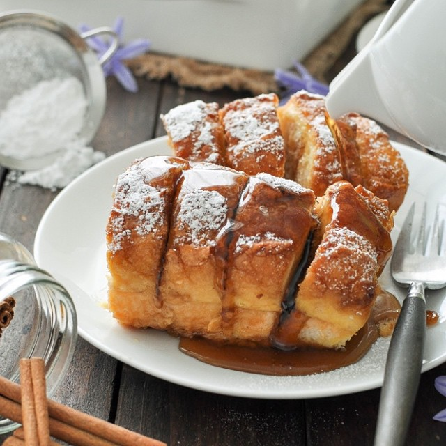 Hasselback French Toast With Maple Syrup