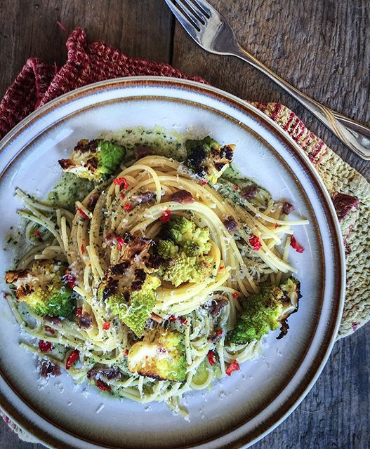 Charred Romanesco Pasta With Anchovies And Mint Pesto