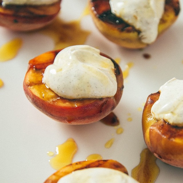 Grilled Peaches With Greek Yogurt And Salt Caramel Syrup