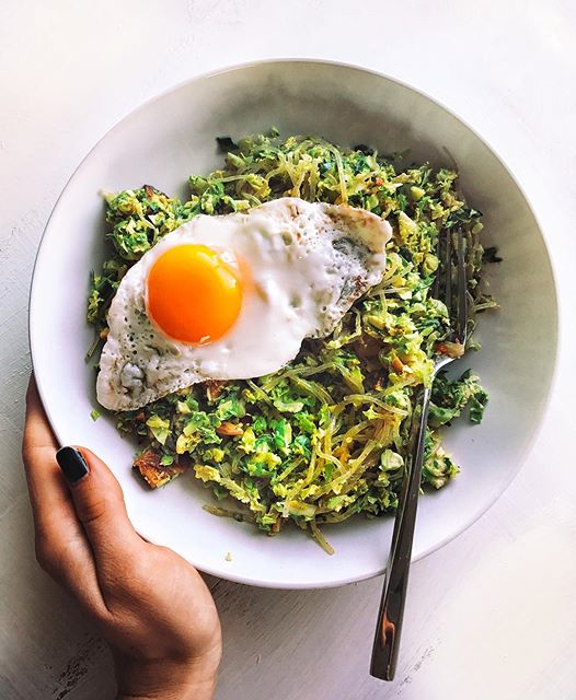 Brussels Sprout And Kelp Noodle Breakfast Salad With Almond Butter Curry Dressing