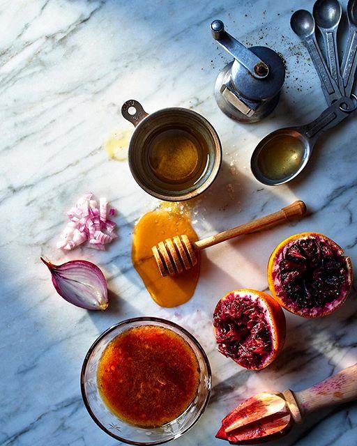 This simple, seasonal dressing of blood orange juice, shallot, champagne vinegar, honey, olive oil…