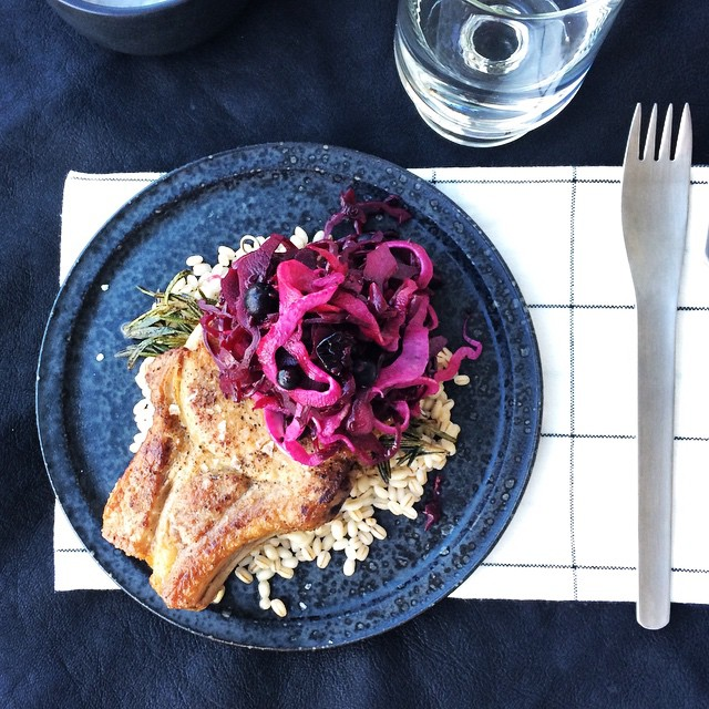 Rosemary Pork Chops With Blackcurrant And Fennel Braised Cabbage