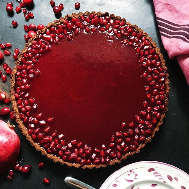 Butternut Squash Tart With Pomegranate And Cranberry Glaze