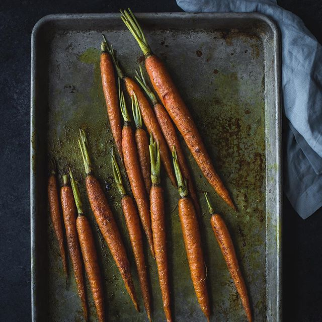 A recipe for curry roasted carrots smothered in a creamy sauce (not pictured, but super tasty)…
