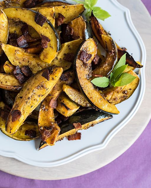Roasted Acorn Squash With Shallots And Bacon