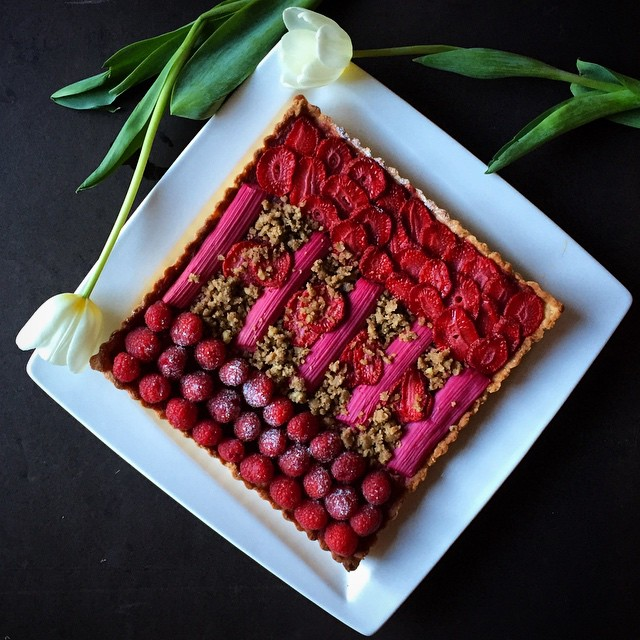 Rhubarb Cardamom Custard And Crushed Pecan Shortbread Tart