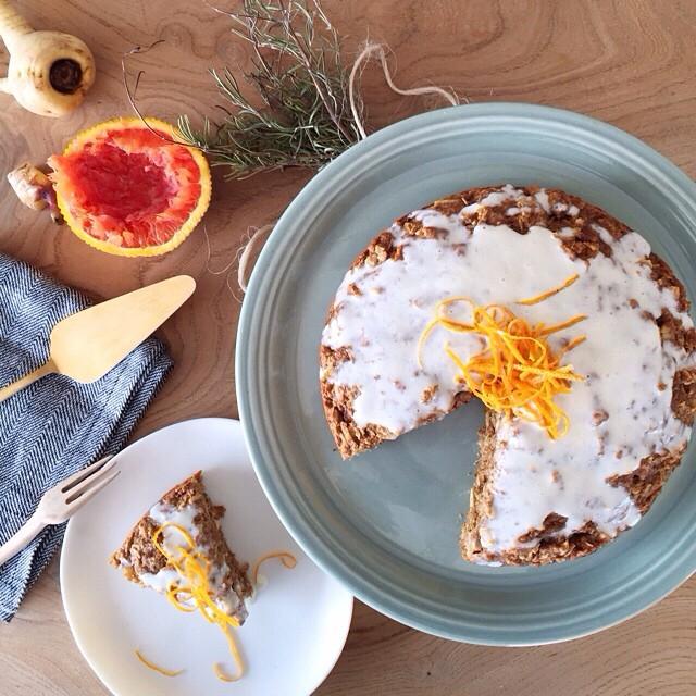 Parsnip Cake With Cara Cara Orange Icing