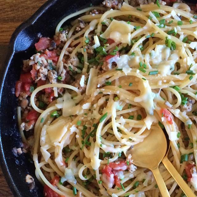Mushroom & Chicken Garlic Pasta With Parmesan